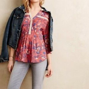 Anthropologie Maeve Abella Pintuck Blouse